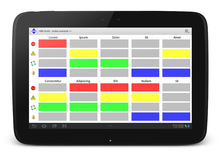andon HMI android tablet app