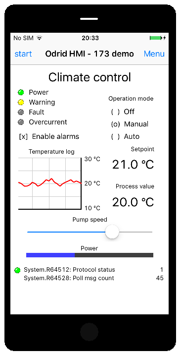Odrid HMI on iOS device