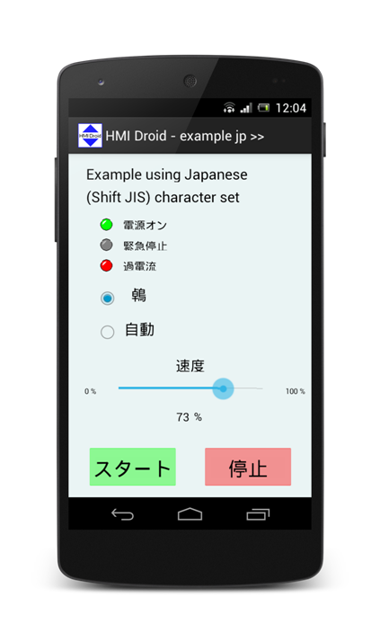 HMI japanese Shift JIS character set