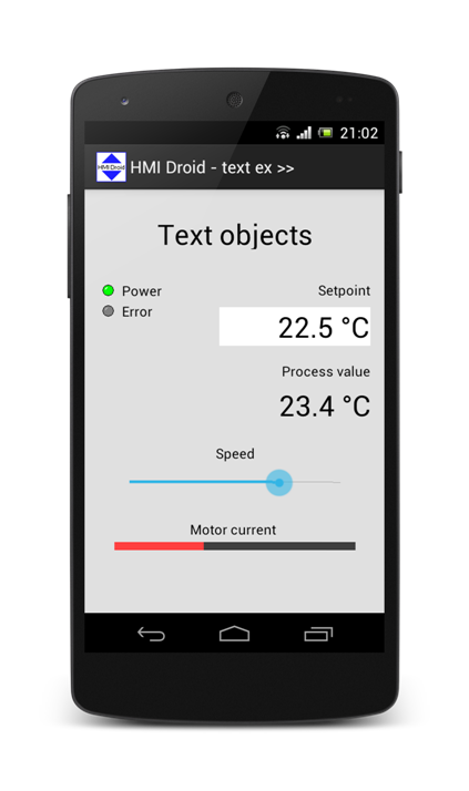 HMI Android Droid text objects labels